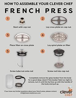 Cafetera De Prensa Francesa De Porción Única De Clever Chef