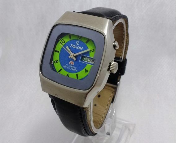 Relógio Ricoh Automático Lindo Item De Coleção. Verde + Azul