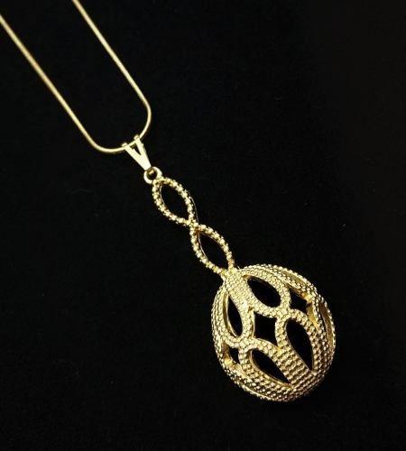 Cordão Com Pingente Pêndulo Desenhado Banho Ouro 18k 3608