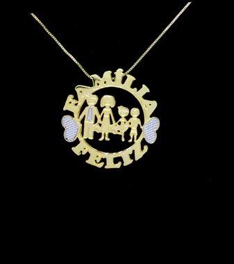 Colar Mandala 2 Nomes Coleção Família Feliz Folheado Ouro18k