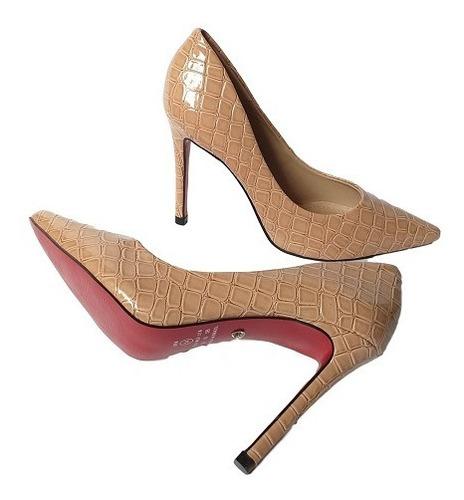 Imagem 1 de 4 de Scarpin Sapato Nude Croco Salto Alto Sola Vermelha