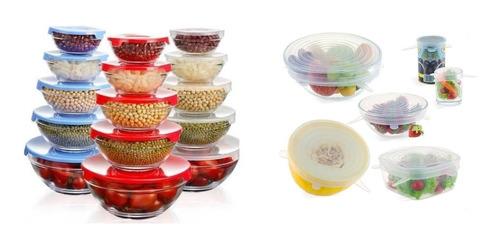 Imagen 1 de 9 de Pack Set 5 Bowls De Vidrio + Set 6 Tapas Silicona Ajustable