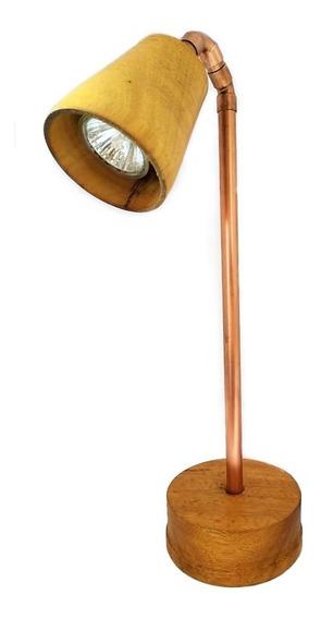 Luminária Abajur De Madeira E Cobre No Estilo Vintage