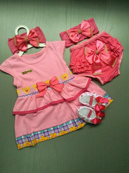 Kit Vestido Luxo Baby. Veste 0 A 6 Meses.