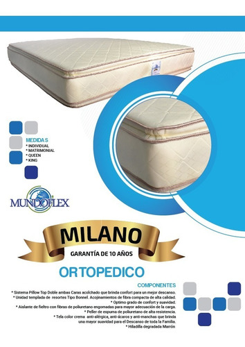 Colchón Individual Ortopedico Doble Pillow Oferta