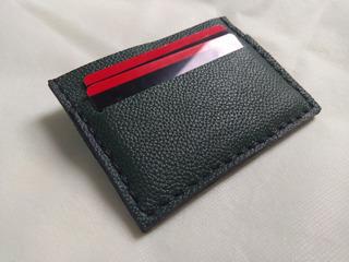 Porta Cartão Em Couro Para Cnh Cartões E Cédulas Md 3 Verde