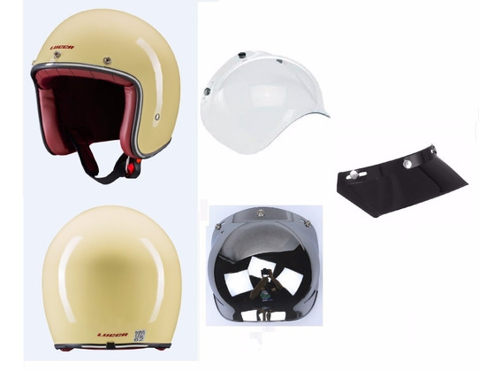 Capacete Lucca Custom Old School Glossy Cream - Full