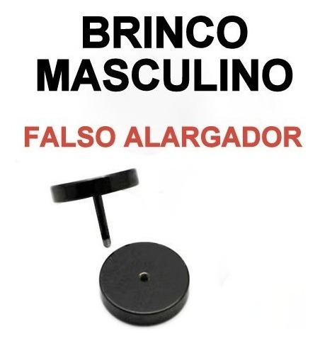 Brinco Masculino Falso Alargador 10mm Punk Rock Hip Hop