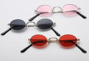 3034170cd Óculos Pequeno Retrô Sol Redondo Oval Uv400 Masc Fem+ Brinde