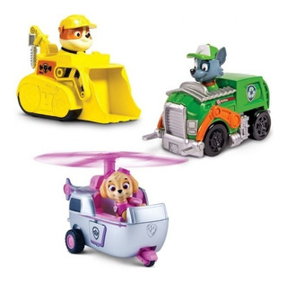 Set De 3 Vehículos Rubble / Rocky / Skyle - Paw Patrol