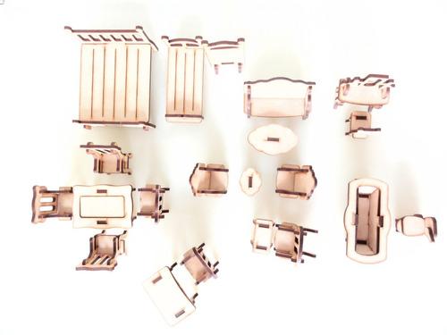 Imagen 1 de 8 de Set Muebles P/casa De Muñecas X 21u - Mdf/fibrofacil