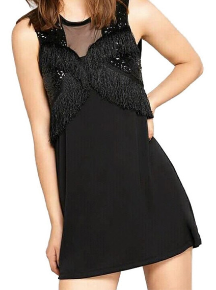 Vestido Ossira Corto Con Detalle En Delantero Con Flecos.027