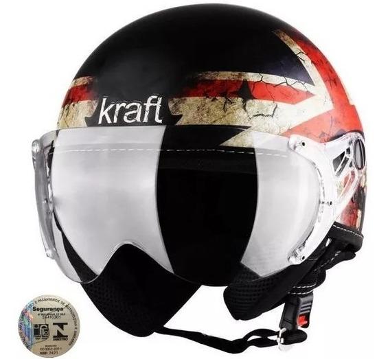 Capacete Aberto Kraft Inglaterra Fosco Harley Drag Shadow