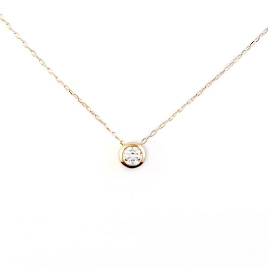 Colgante Solitario Oro Rosa 18k 1 Diamante Talla Brillante