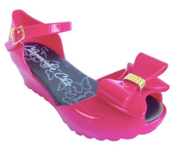 Sandália Infantil Anabela Pink Laço Charmosa Chic # Clique+