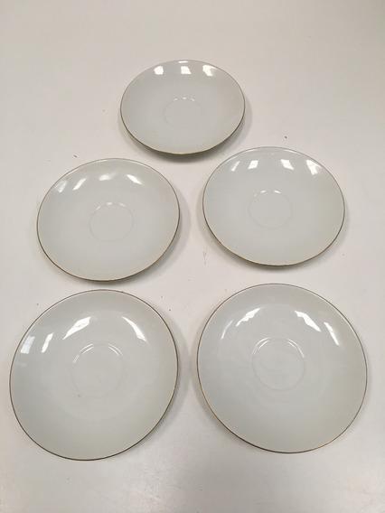 Juego 5 Platos De Postre Blancos De Porcelana Verbano
