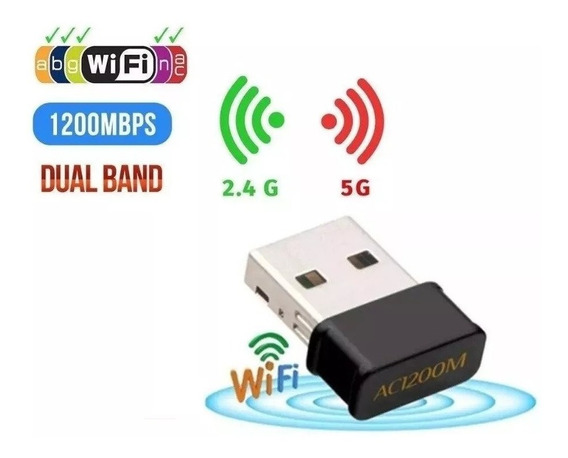 Mini Adaptador Wireless Usb Dual Band 2.4 Ghz / 5 Ghz 1200 M