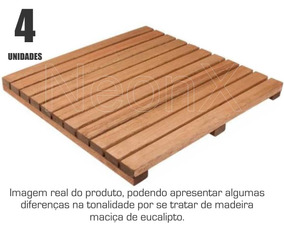 Kit 4 Unidades Deck De Madeira Modular Base 50x50 Cm Neonx