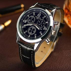 Relógio Masculino Social Luxo Quartzo Pulseira De Couro