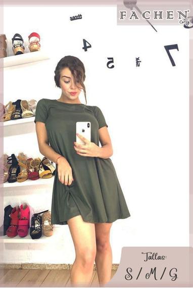 Vestido Linea A Verde Militar