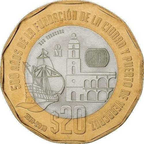 Imagen 1 de 3 de Lote De 3 Monedas 20 Pesos 500 Años Fundacion De Veracruz