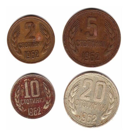 Bulgaria Lote 4 Monedas Serie Año 1962 2, 5, 10 Y 20 Stotink