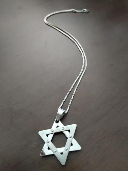 Colar Unissex Estrela De Davi Em Inox 60 Cm