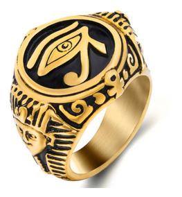 Anel Aço Inox Olho Illuminati Hip Hop Esfinge Ouro Lxbr A192