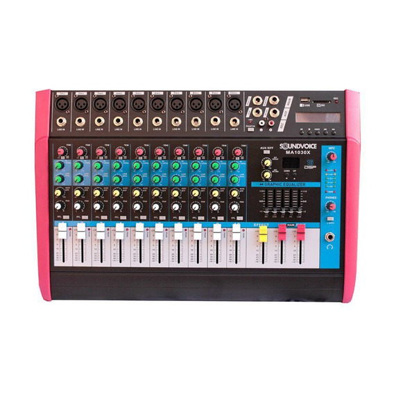 Mesa De Som Amplificada 500w 4 Ohms Ma1030x 10 Ch Soundvoice