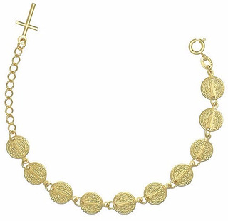 Pulseira Bracelete São Bento Alongador Cruz Banhado Ouro 18k