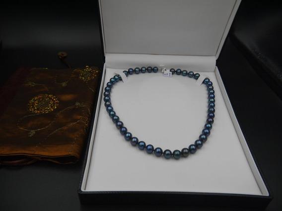 Collar De Perlas Cultivadas Azules 10 Mm Y Broche De Oro 14k