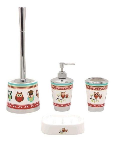 Kit Para Banheiro Decorado Coruja Completo +escova Sanitaria