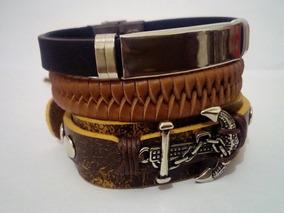 Pulseira Couro Masculino Feminino Bracelete Tribal