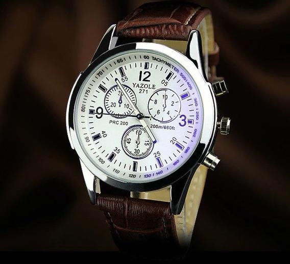 Relógio Masculino Executivo Pulseira De Couro+caixa De Brind