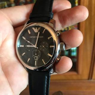 Emporio Armani Comprado En Miami Reloj Cuero Negro De Gala