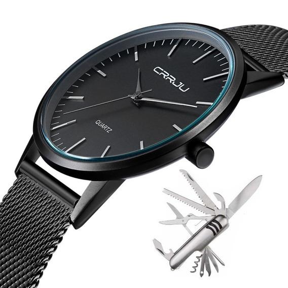 Relógio Masculino Social Ultra Fino De Luxo Metal + Canivete