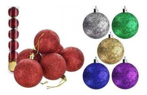 Esfera X6 Uds Con Glitter Navidad 8cm Diametro