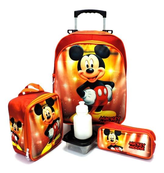 Kit Mochila Infantil Escolar Mickey Mouse Rodinhas Tam M F5