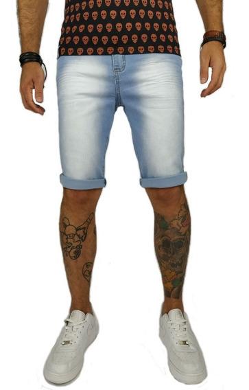 Short Bermuda Jeans Lycra Masculina Azul Claro