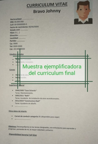 Armado Curriculum Vitae Simple Listo Para Imprimir!