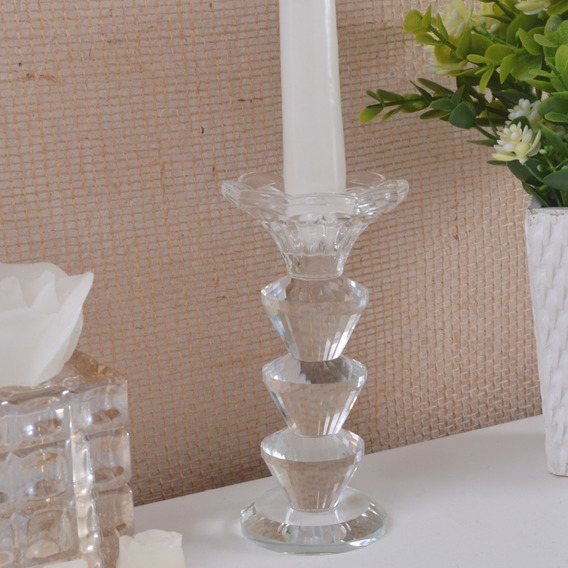 Castiçal Alto Vidro Cristal Incolor Altura 14cm