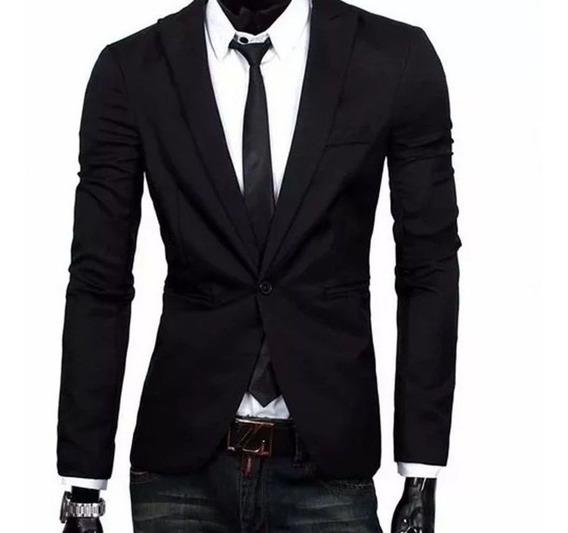 Blazer Social Slim Masculino Oxford Preto