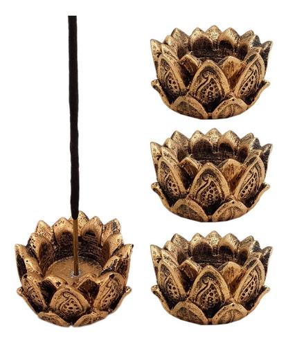 Incensário E Castiçal Flor De Lotus Em Resina 5cm. Kit C/4