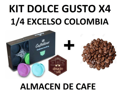 Capsula Dolce Gusto Recargable X4 Kit + 1/4 Colombia Excelso