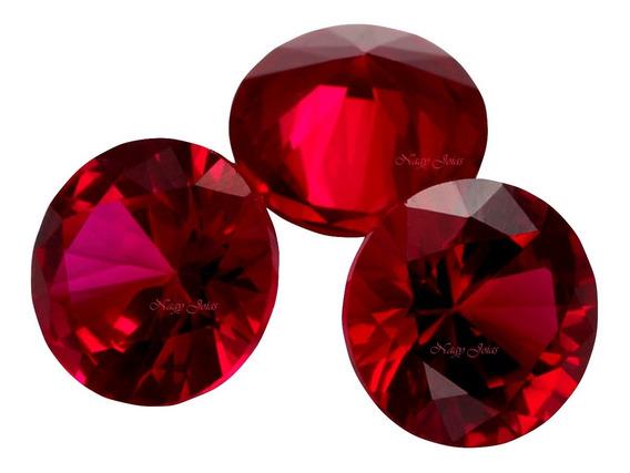 3 Rubís Pedra Preciosa Vermelho Sangue De Pombo 5mm/1,75 Cts