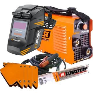 Soldadora Inverter Lusqtoff Iron 100 2.50mm + Mascara + Electrodos + 4 Escuadras Magnetica Maquina Soldar + Cables