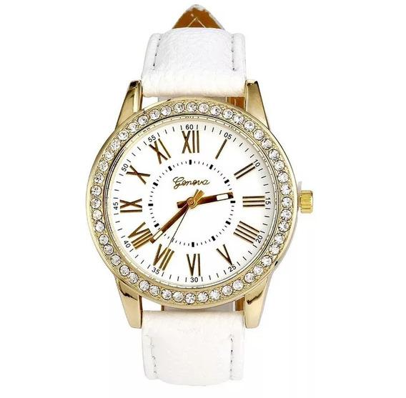 Relógio Feminino De Couro Com Strass ( Frete Gratis)