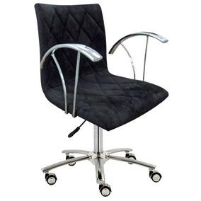 Cadeira Escritório Matelassê Preta Com Braço