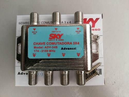 3 Chave Comutadora 3x4 Sky Sd E Hdtv