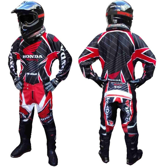 Conjunto Moto Cross Honda Racing Black Red Gama - Fas Motos